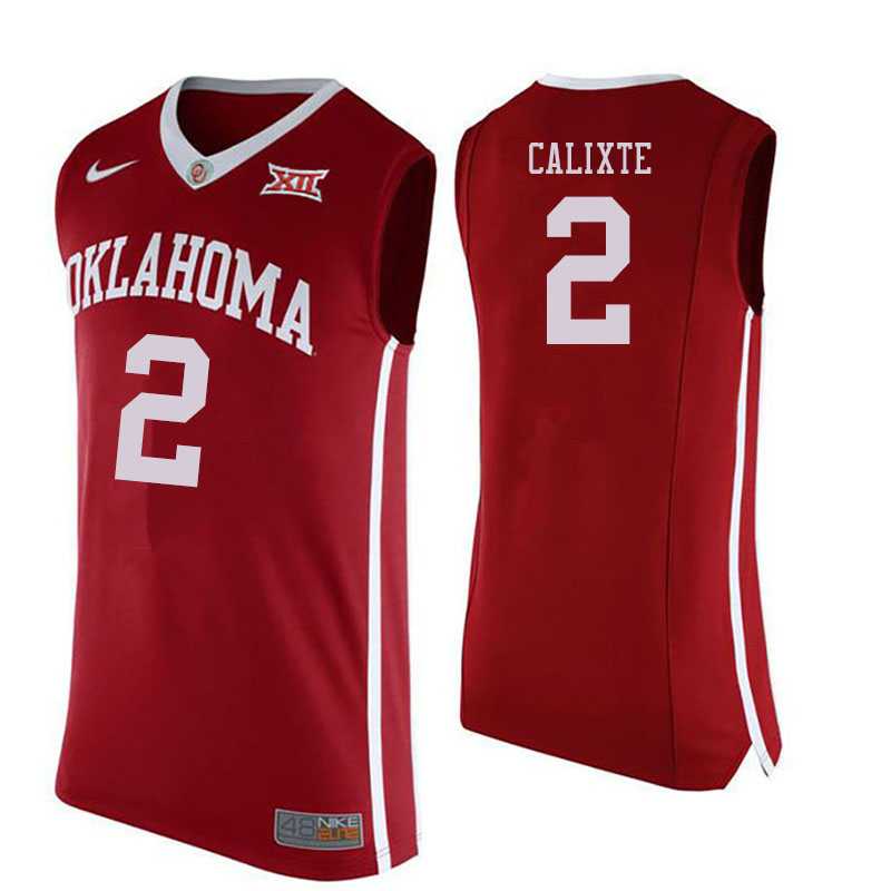 Men #2 Aaron Calixte Oklahoma Sooners College Basketball Jersyes Sale-Crimson