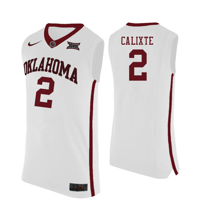 Men #2 Aaron Calixte Oklahoma Sooners College Basketball Jersyes Sale-White