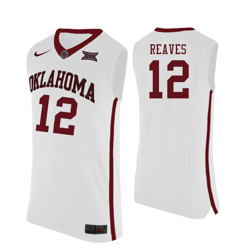 Men #12 Austin Reaves Oklahoma Sooners College Basketball Jersyes Sale-White