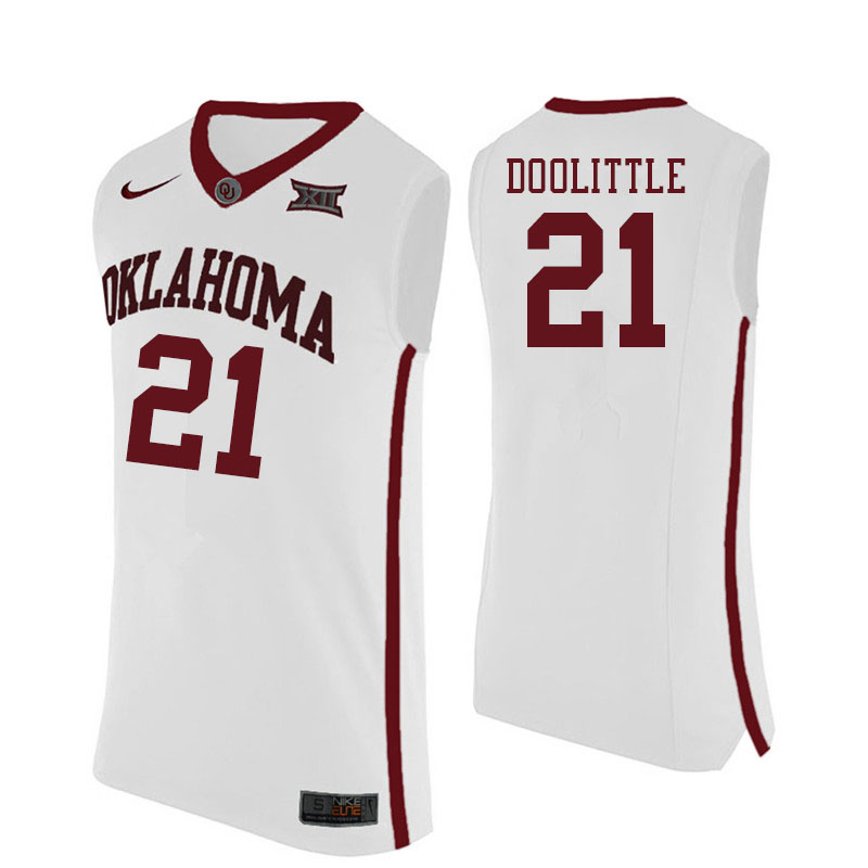Men #21 Kristian Doolittle Oklahoma Sooners College Basketball Jersyes Sale-White