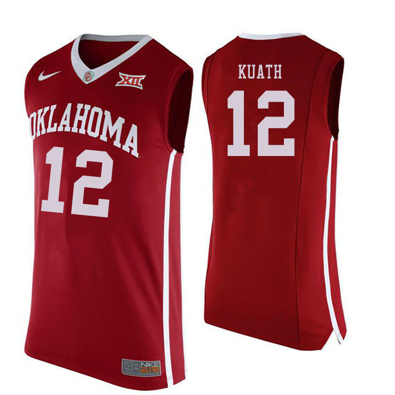 Men #12 Kur Kuath Oklahoma Sooners College Basketball Jersyes Sale-Crimson