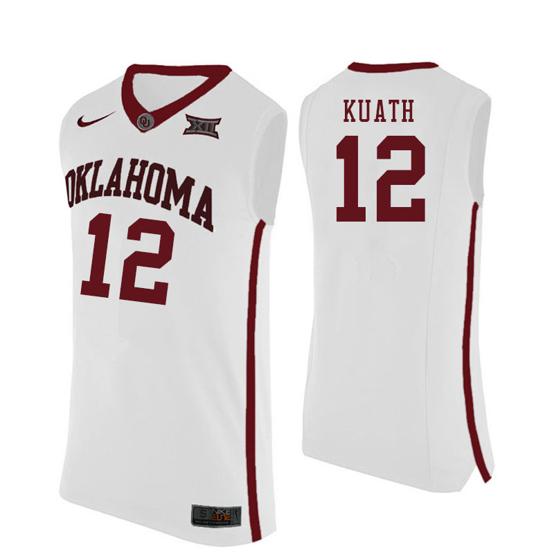 Men #12 Kur Kuath Oklahoma Sooners College Basketball Jersyes Sale-White