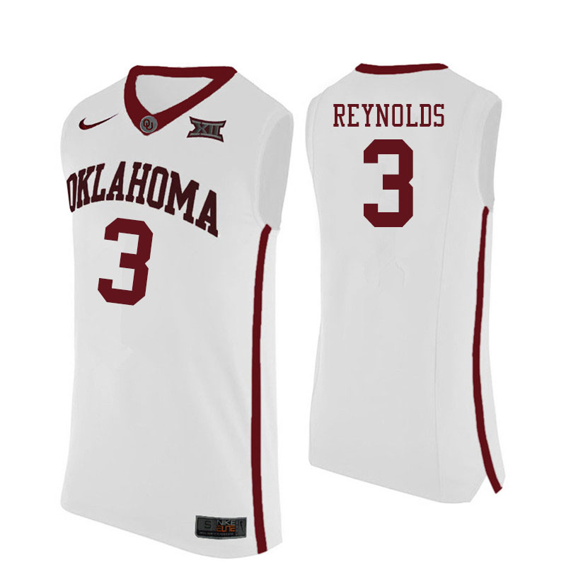 Men #3 Miles Reynolds Oklahoma Sooners College Basketball Jersyes Sale-White
