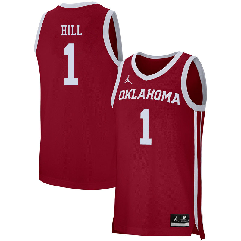 Jordan Brand Men #1 Jalen Hill Oklahoma Sooners College Basketball Jerseys Sale-Crimson