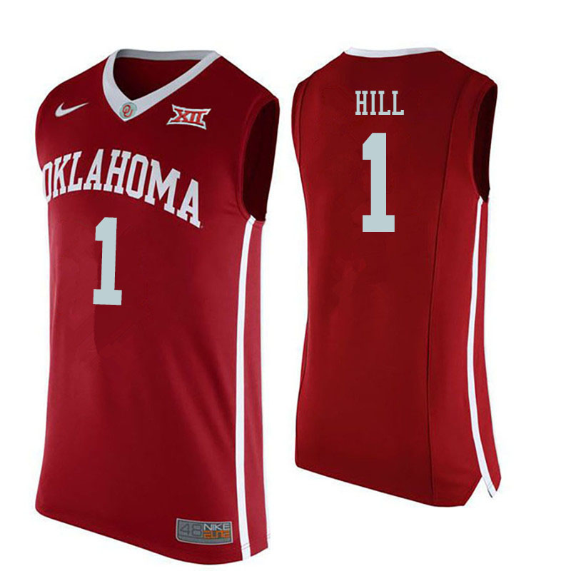 Men #1 Jalen Hill Oklahoma Sooners College Basketball Jerseys Sale-Red