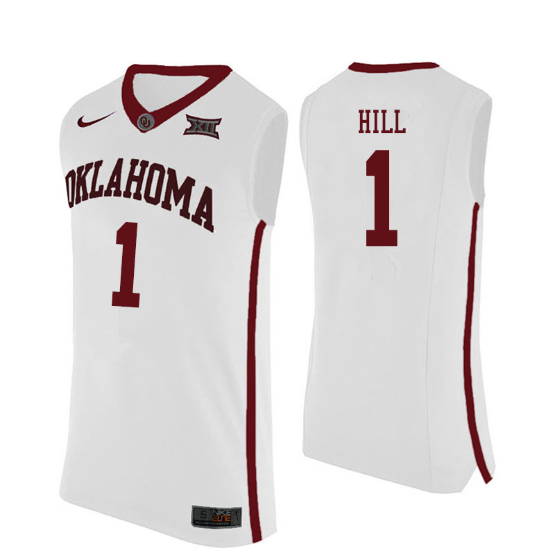 Men #1 Jalen Hill Oklahoma Sooners College Basketball Jerseys Sale-White