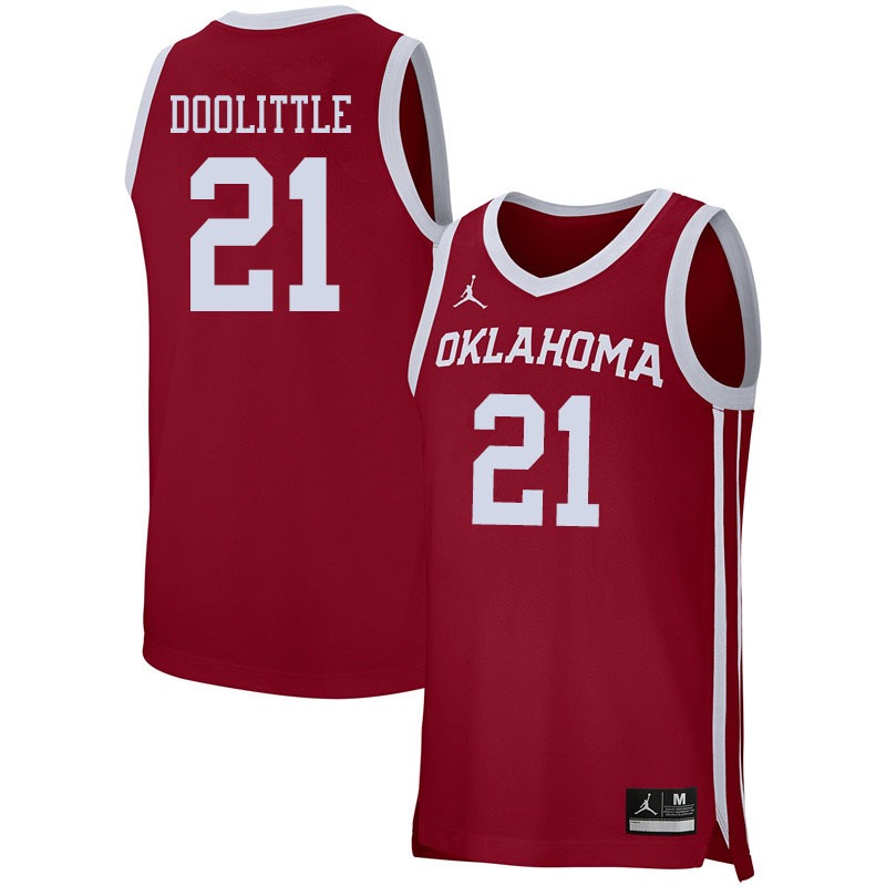 Jordan Brand Men #21 Kristian Doolittle Oklahoma Sooners College Basketball Jerseys Sale-Crimson