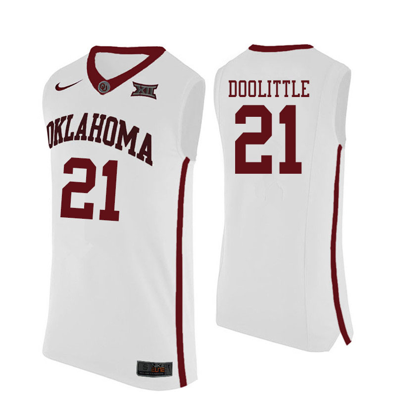 Men #21 Kristian Doolittle Oklahoma Sooners College Basketball Jerseys Sale-White