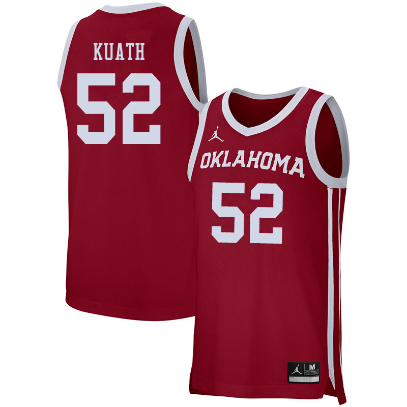Jordan Brand Men #52 Kur Kuath Oklahoma Sooners College Basketball Jerseys Sale-Crimson