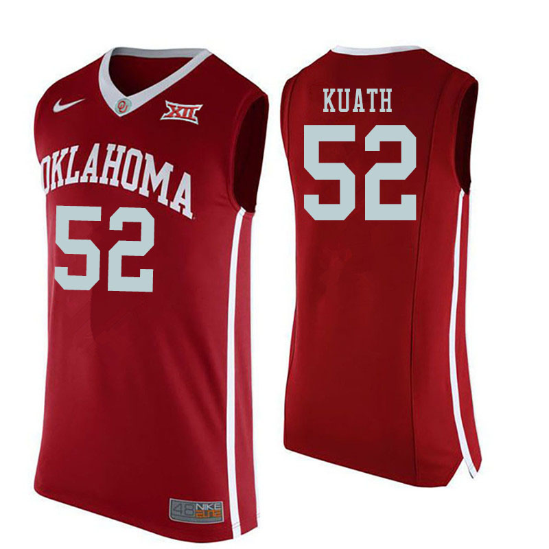 Men #52 Kur Kuath Oklahoma Sooners College Basketball Jerseys Sale-Red