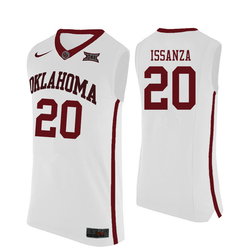 Men #20 Rick Issanza Oklahoma Sooners College Basketball Jerseys Sale-White