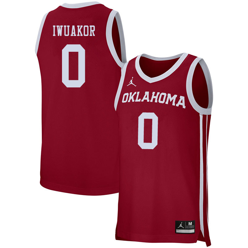 Jordan Brand Men #0 Victor Iwuakor Oklahoma Sooners College Basketball Jerseys Sale-Crimson