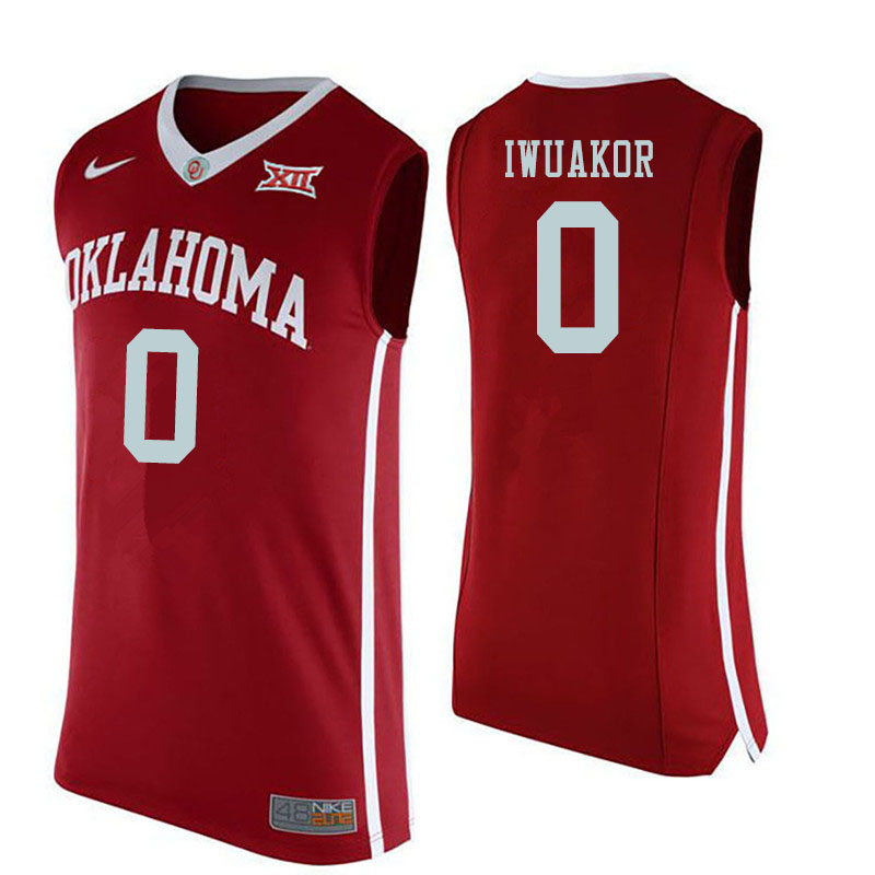 Men #0 Victor Iwuakor Oklahoma Sooners College Basketball Jerseys Sale-Red