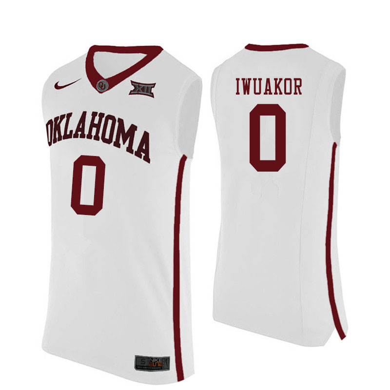 Men #0 Victor Iwuakor Oklahoma Sooners College Basketball Jerseys Sale-White
