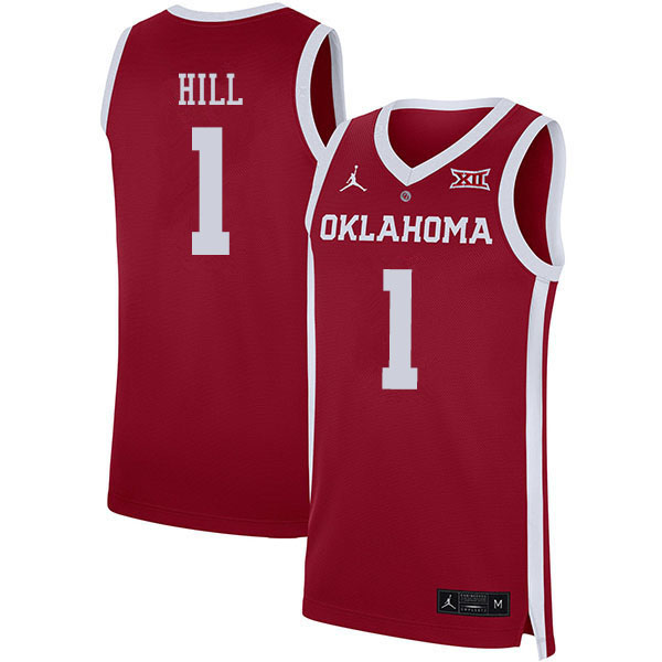Men #1 Jalen Hill Oklahoma Sooners College Basketball Jerseys Sale-Crimson
