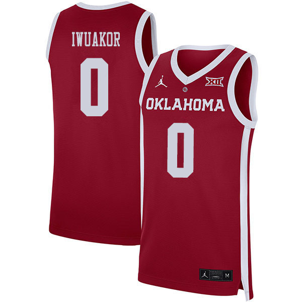 Men #0 Victor Iwuakor Oklahoma Sooners College Basketball Jerseys Sale-Crimson