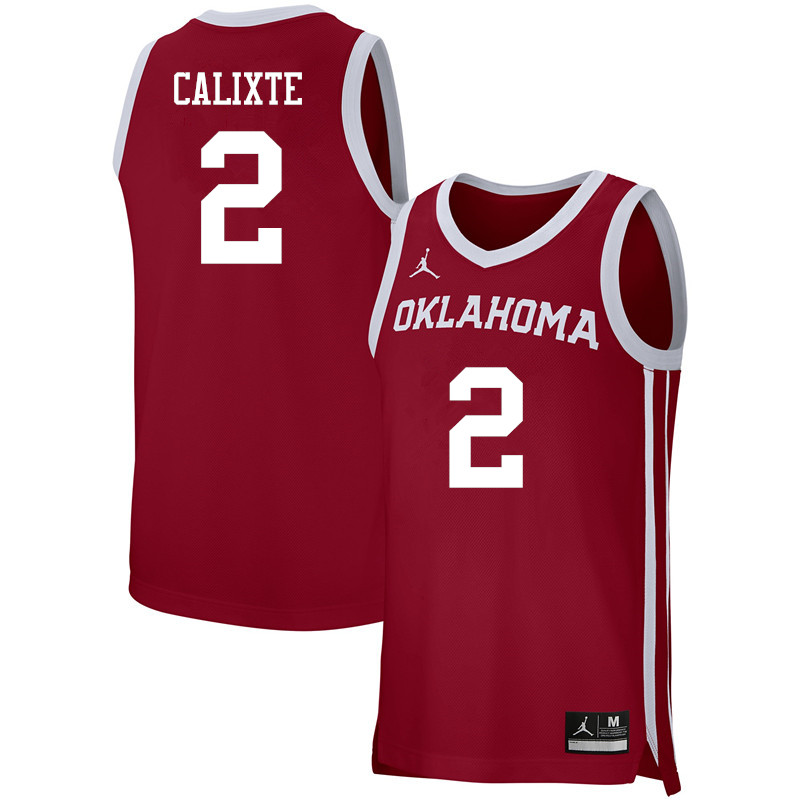 Men Jordan Brand #2 Aaron Calixte Oklahoma Sooners Basketball Jerseys-Crimson