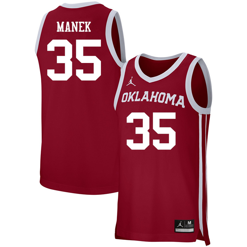 Men Jordan Brand #35 Brady Manek Oklahoma Sooners Basketball Jerseys-Crimson