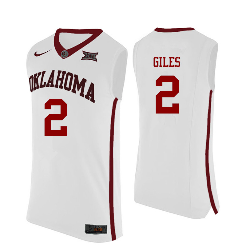 Men Oklahoma Sooners #2 Chris Giles College Basketball Jerseys-White