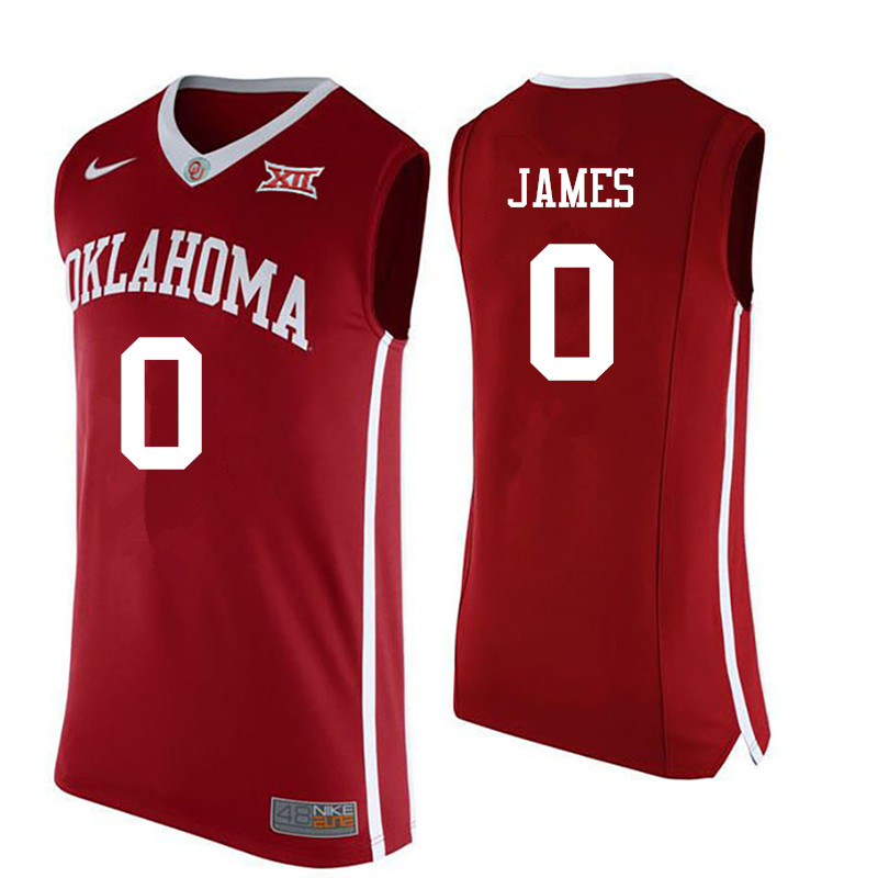 Men Oklahoma Sooners #0 Christian James College Basketball Jerseys-Red