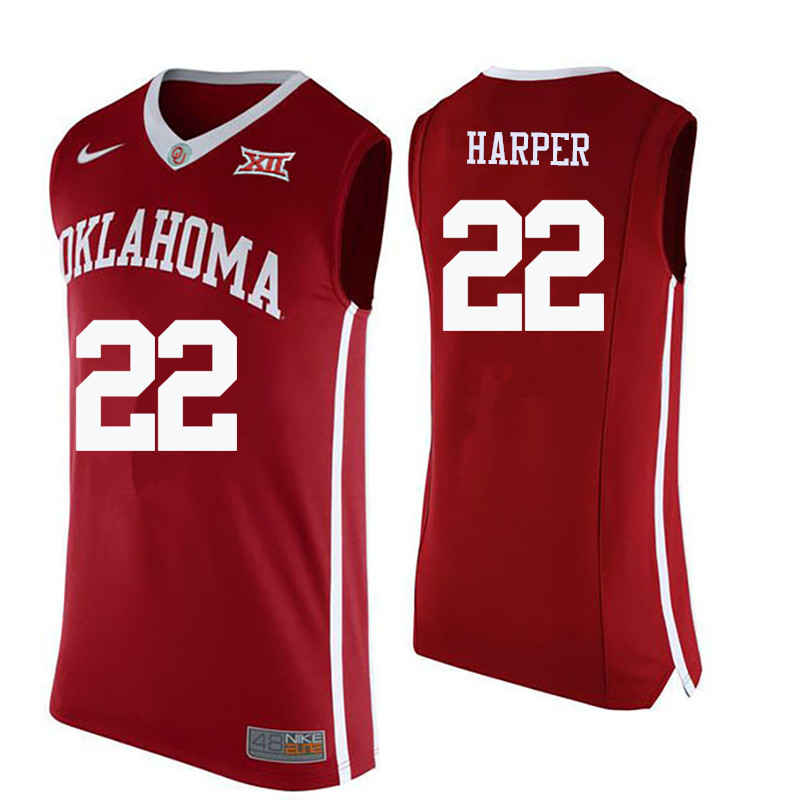 Men Oklahoma Sooners #22 Daniel Harper College Basketball Jerseys-Crimson