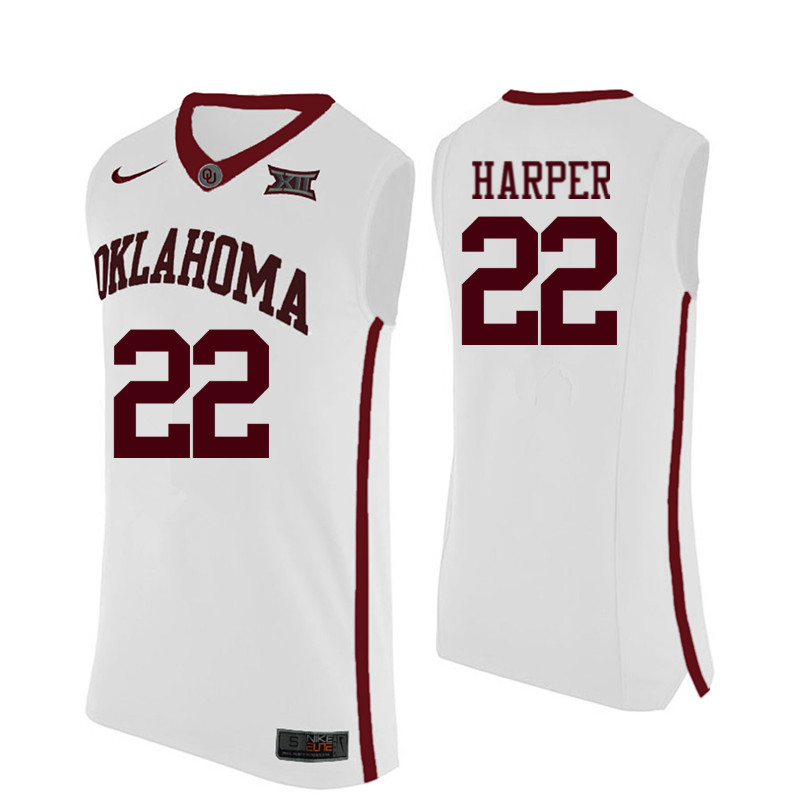 Men Oklahoma Sooners #22 Daniel Harper College Basketball Jerseys-White