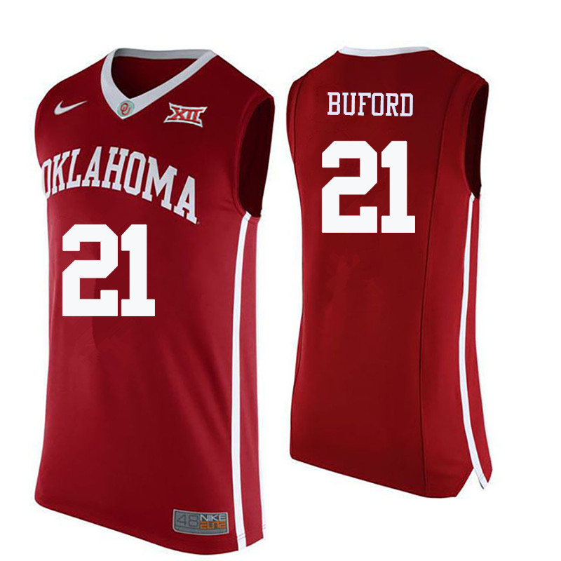 Men Oklahoma Sooners #21 Dante Buford College Basketball Jerseys-Crimson