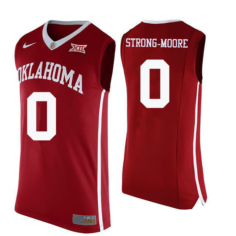 Men Oklahoma Sooners #0 Darrion Strong-Moore College Basketball Jerseys-Crimson