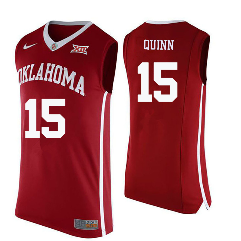 Men Oklahoma Sooners #15 Grant Quinn College Basketball Jerseys-Crimson