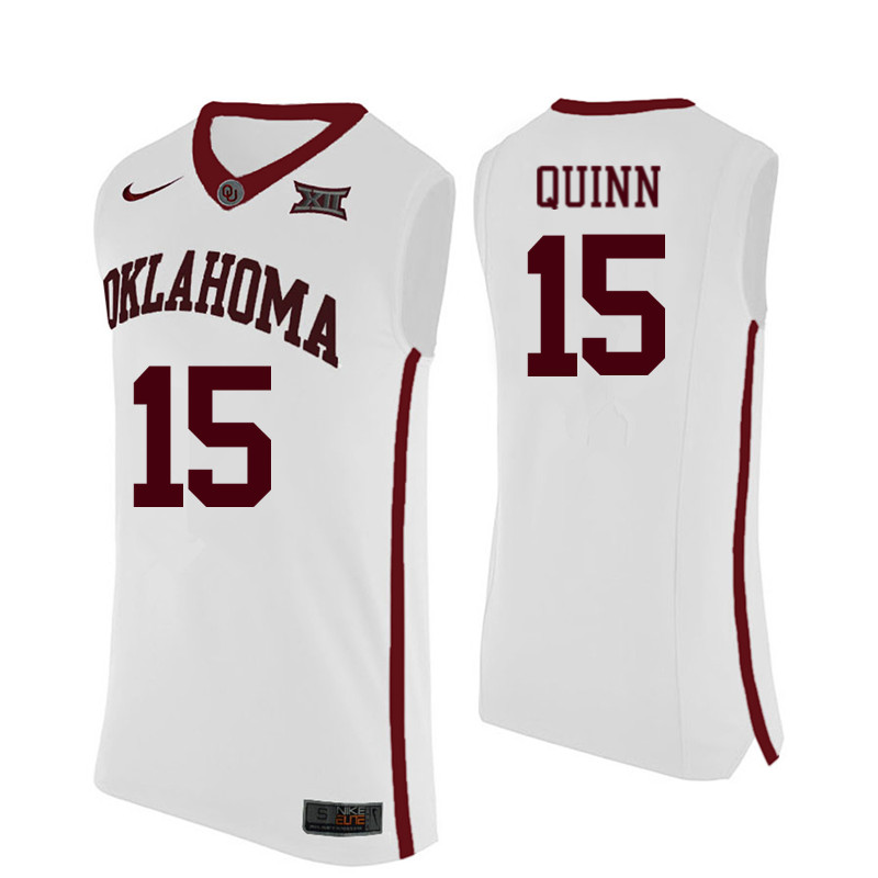 Men Oklahoma Sooners #15 Grant Quinn College Basketball Jerseys-White