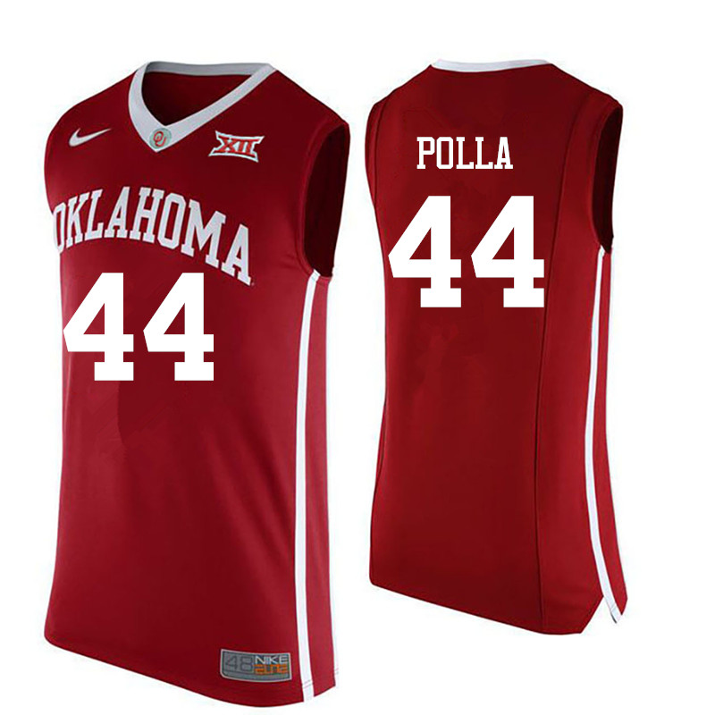 Men Oklahoma Sooners #44 Hannes Polla College Basketball Jerseys-Red