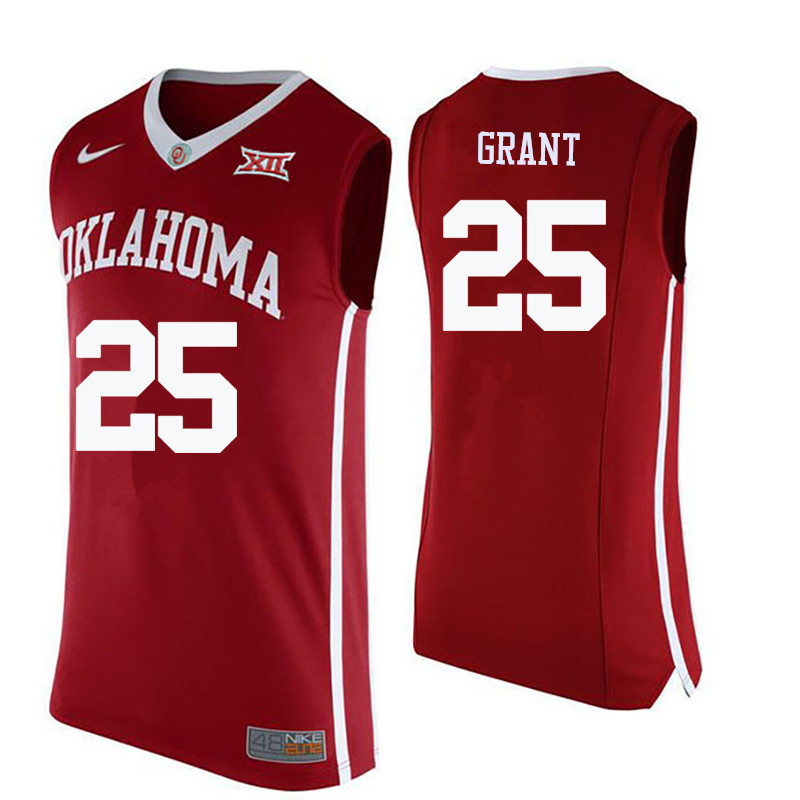 Men Oklahoma Sooners #25 Harvey Grant College Basketball Jerseys-Crimson