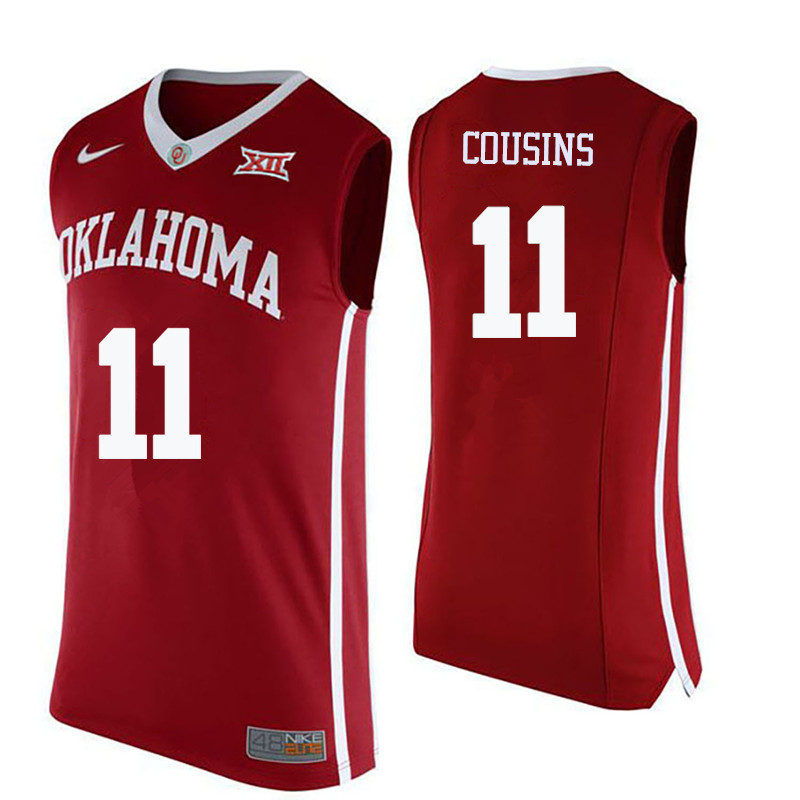 Men Oklahoma Sooners #11 Isaiah Cousins College Basketball Jerseys-Crimson