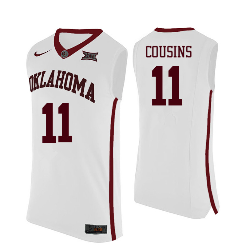 Men Oklahoma Sooners #11 Isaiah Cousins College Basketball Jerseys-White