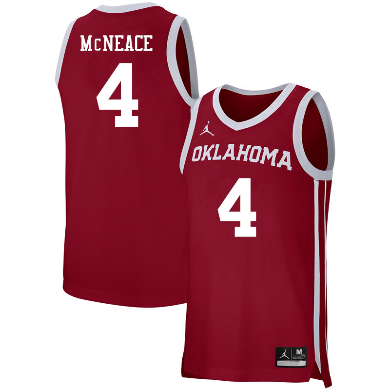 Men Jordan Brand #4 Jamuni McNeace Oklahoma Sooners Basketball Jerseys-Crimson