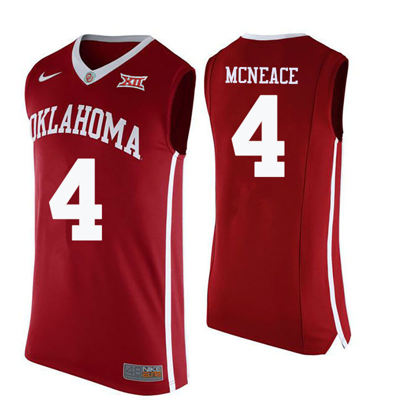 Men Oklahoma Sooners #4 Jamuni McNeace College Basketball Jerseys-Crimson