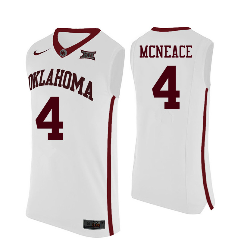 Men Oklahoma Sooners #4 Jamuni McNeace College Basketball Jerseys-White