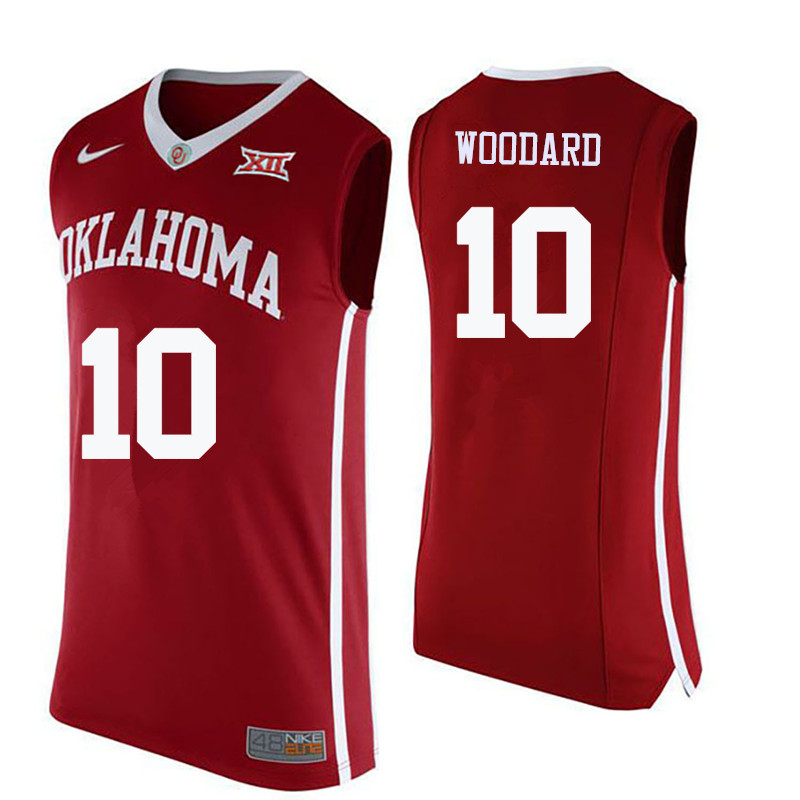 Men Oklahoma Sooners #10 Jordan Woodard College Basketball Jerseys-Crimson