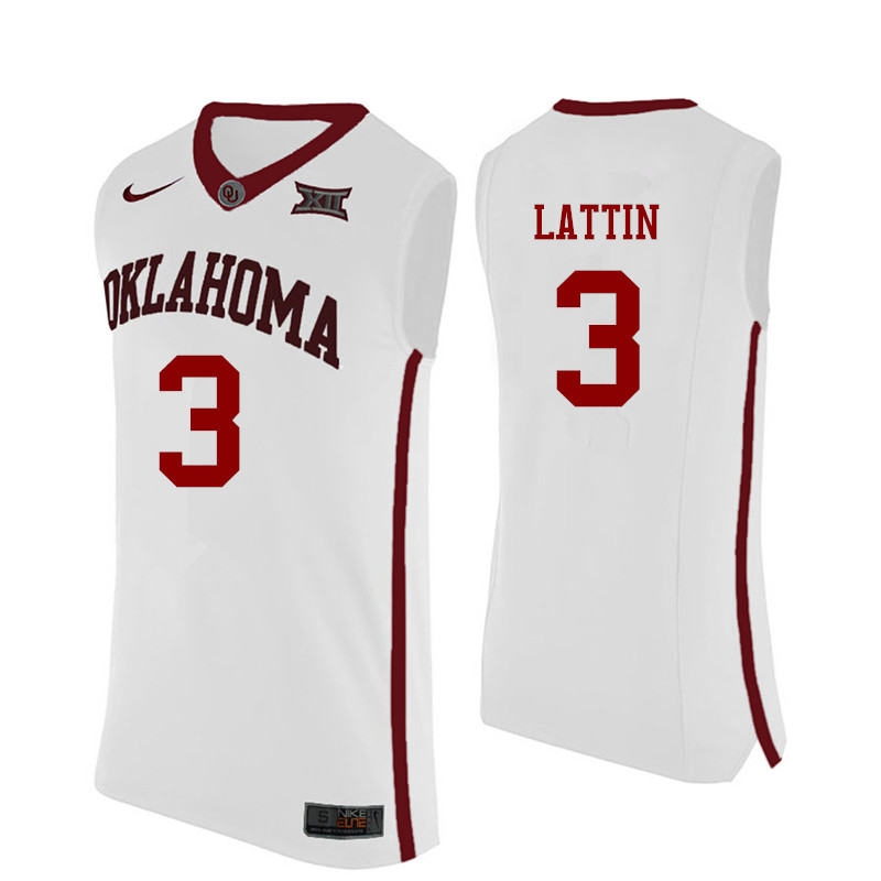 Men Oklahoma Sooners #12 Khadeem Lattin College Basketball Jerseys-White