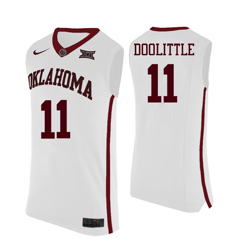 Men Oklahoma Sooners #11 Kristian Doolittle College Basketball Jerseys-White