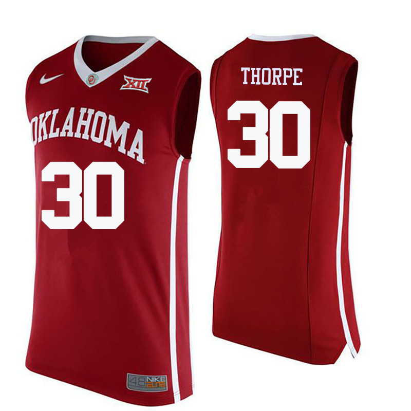 Men Oklahoma Sooners #30 Marshall Thorpe College Basketball Jerseys-Crimson