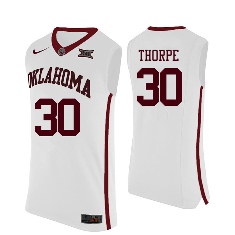 Men Oklahoma Sooners #30 Marshall Thorpe College Basketball Jerseys-White