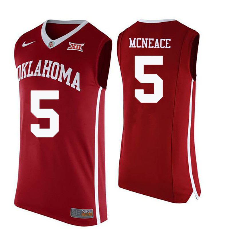 Men Oklahoma Sooners #5 Matt Freeman College Basketball Jerseys-Crimson