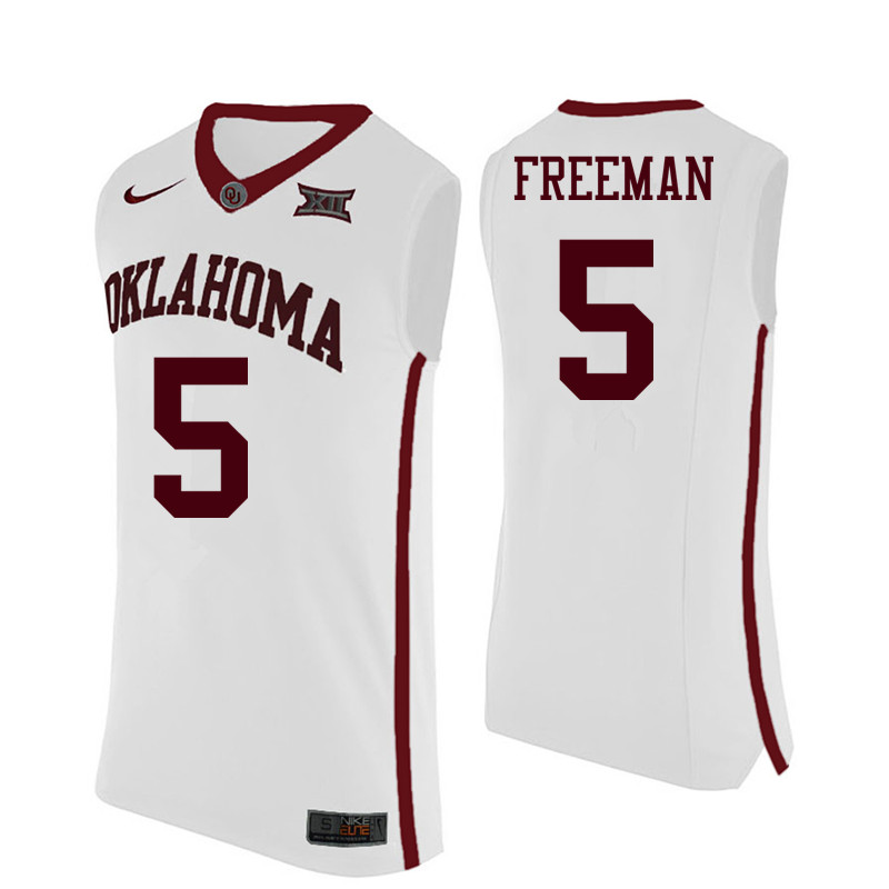 Men Oklahoma Sooners #5 Matt Freeman College Basketball Jerseys-White