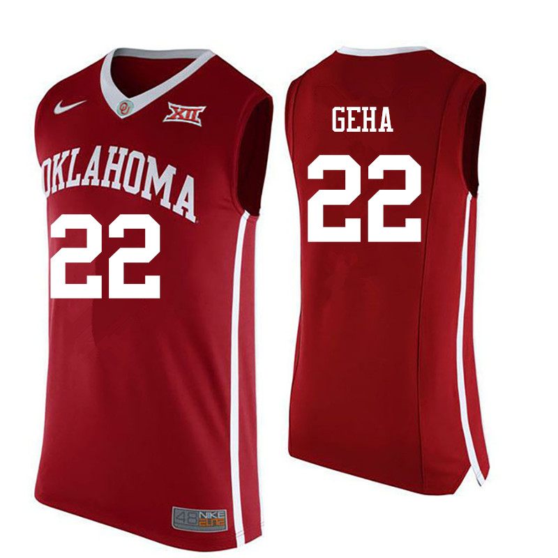 Men Oklahoma Sooners #22 Patrick Geha College Basketball Jerseys-Red