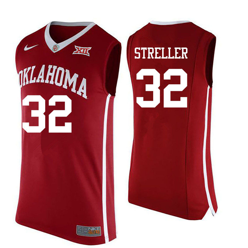 Men Oklahoma Sooners #32 Read Streller College Basketball Jerseys-Red