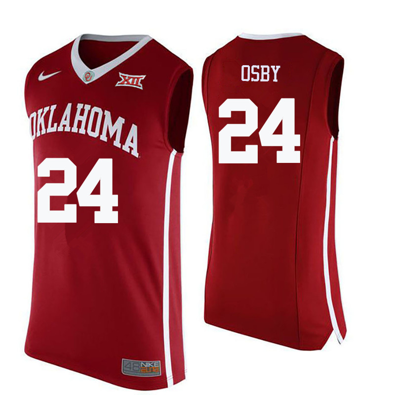 Men Oklahoma Sooners #24 Romero Osby College Basketball Jerseys-Crimson