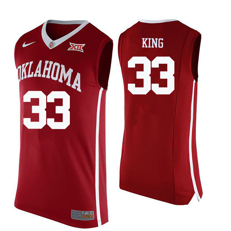 Men Oklahoma Sooners #33 Stacey King College Basketball Jerseys-Crimson