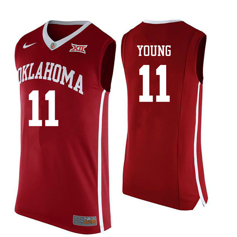 Men Oklahoma Sooners #11 Trae Young College Basketball Jerseys-Red