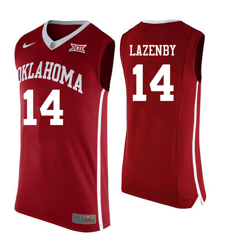 Men Oklahoma Sooners #14 Ty Lazenby College Basketball Jerseys-Red